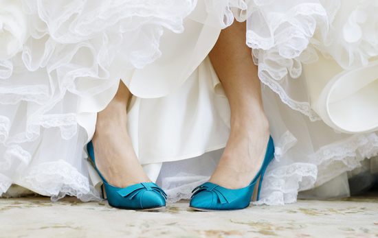 Blue Satin Wedding Shoes with classic bridal gown