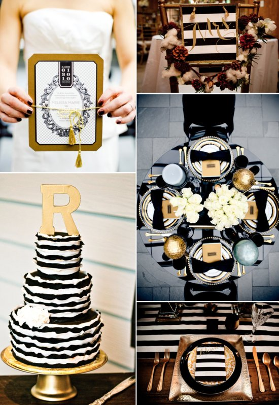 photo of Glamorous Black and Gold Wedding Inspiration