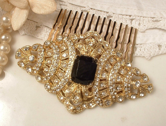 Vintage Bridal Hair Comb Art Deco