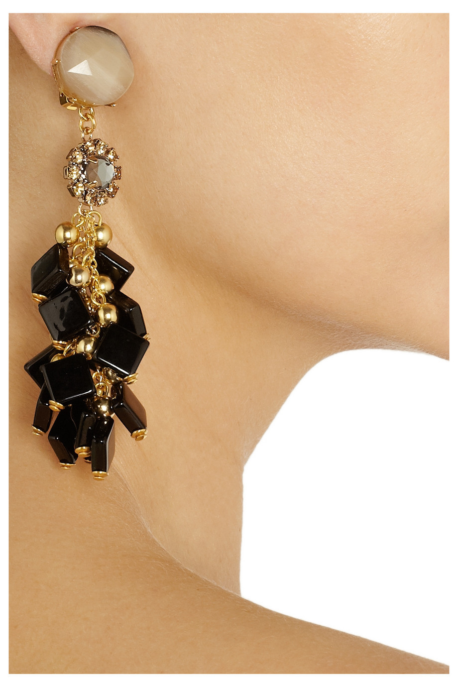 Elegant Gold and Black Bridal Earrings