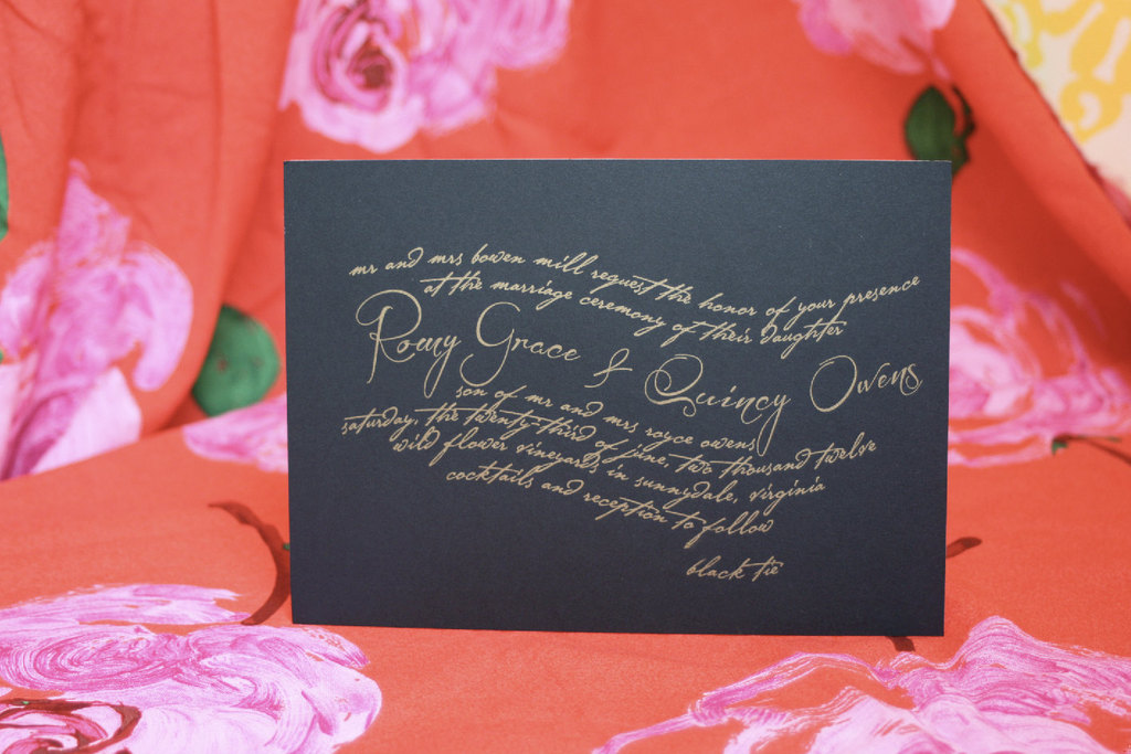 Gold and Black Calligraphy Wedding Invitations