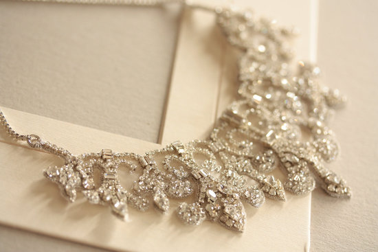 Vintage inspired bridal necklace statement wedding jewelry