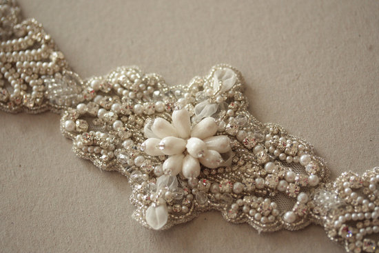 Vintage Bridal Accessories Art Deco Beaded Wedding Dress Sash