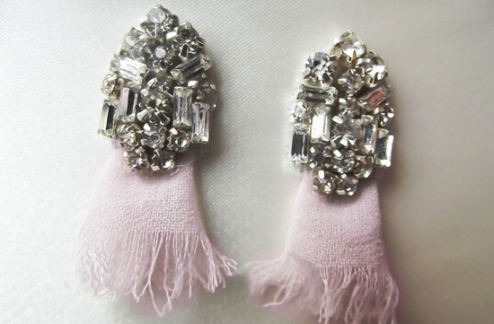 Art Deco Bridal Earrings Pastel Pink Diamante