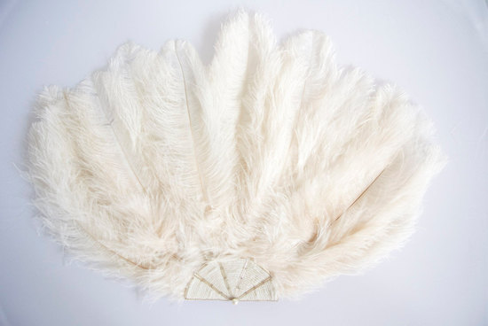 Ivory Feather Fan for Vintage brides