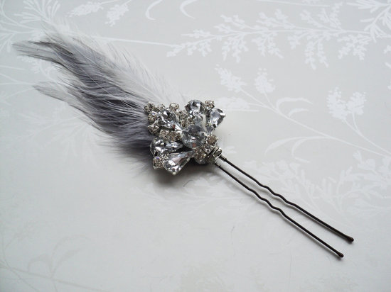Gray Silver Bridal Hair Pin Art Deco Style