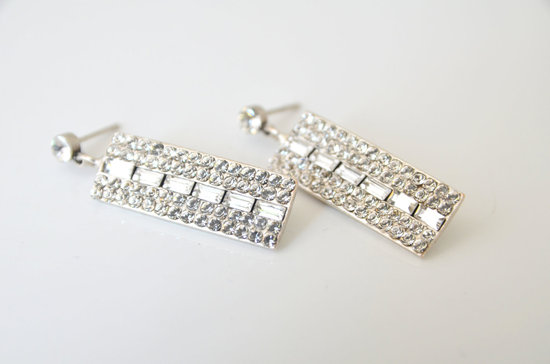 Sparkly Swarovski Bridal Earrings for Art Deco Weddings