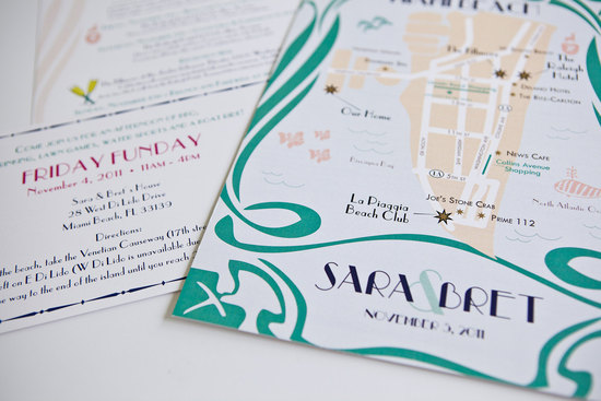 Art Deco Style Map Wedding Invitations