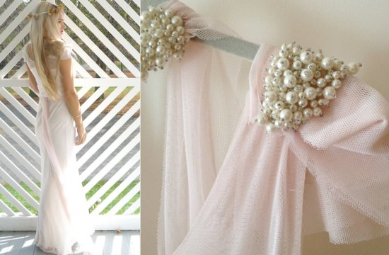 Romantic White and Blush Pink Wedding Dress