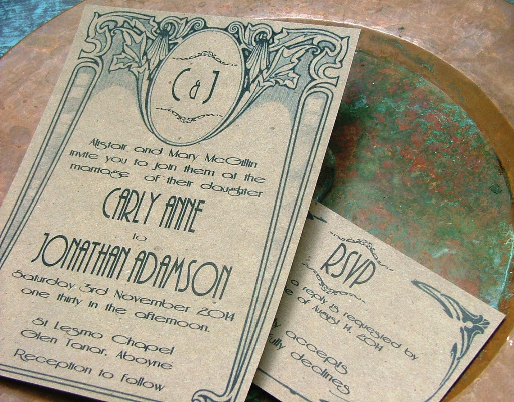 Tan and Teal Wedding Invitations with Art Deco Design