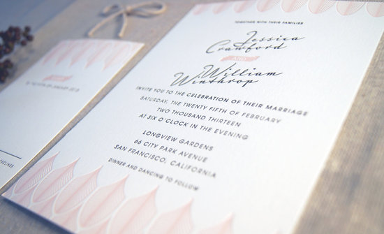 Romantic Letterpress Wedding Invitations Art Deco Design