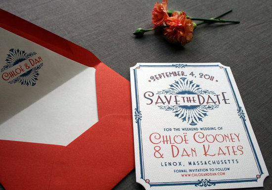 Red Blue Ivory Wedding Invitations Vintage Art Deco