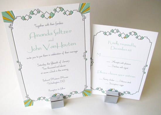 Understated Art Deco Wedding Invitations Letterpress