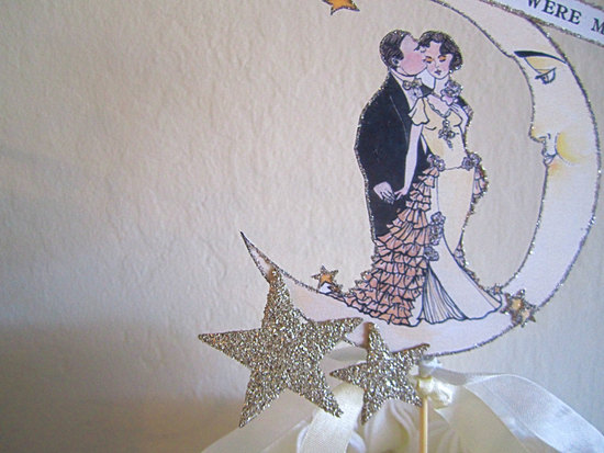 Handmade Wedding Cake Topper Art Deco Romance
