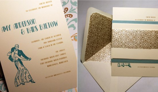 Vintage Gold Teal Wedding Invitations Dancing Couple