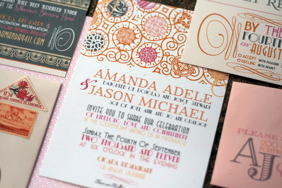 Romantic Art Deco Wedding Invitations