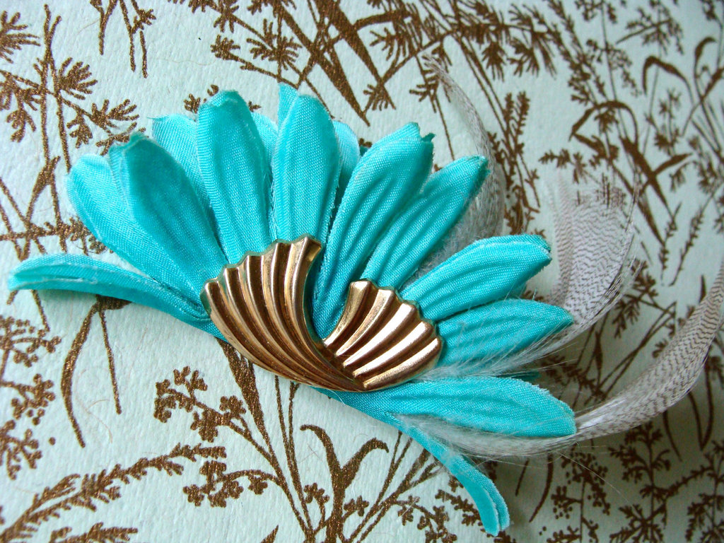 Something Blue for Vintage Brides Art Deco Hair Clip