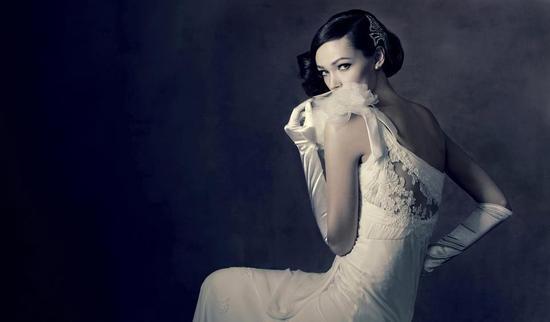 photo of Vintage Glam Mermaid Wedding Dress by Lusan Mandongus 5