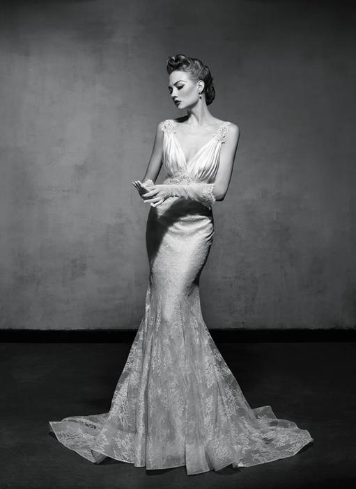 Vintage Glam Mermaid Wedding Dress by Lusan Mandongus 4
