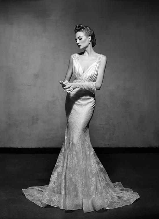 photo of Vintage Glam Mermaid Wedding Dress by Lusan Mandongus 2