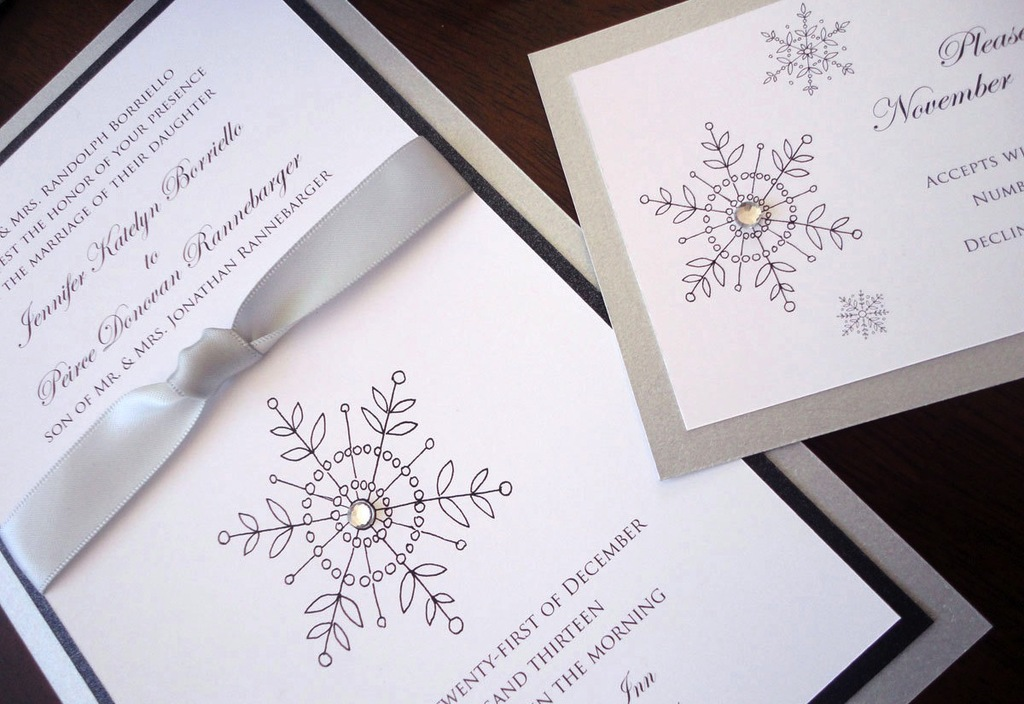 Winter Wedding Ideas Elegant Snowflake Stationery