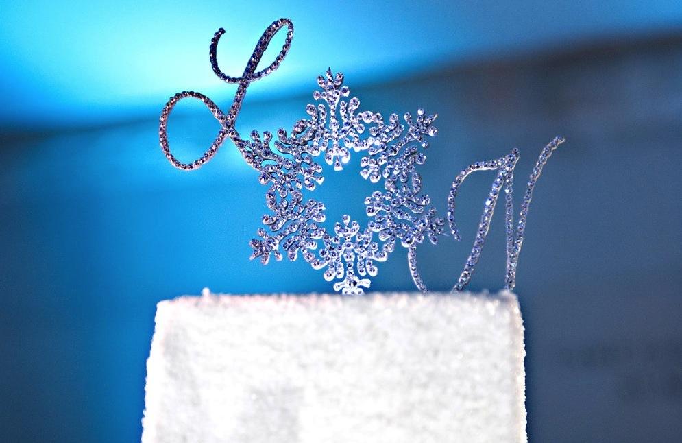 Snowflake Monogram Wedding Cake Topper