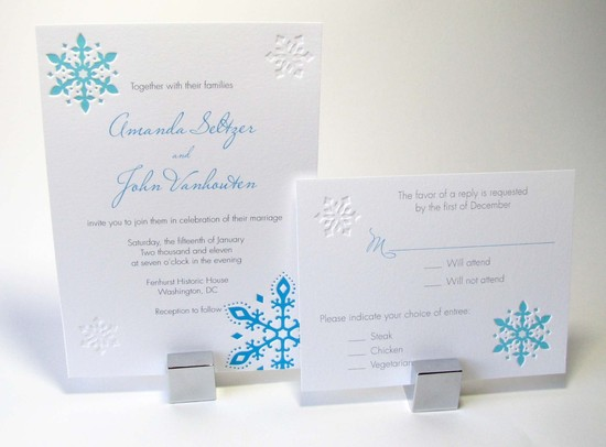 Snowflake Letterpress Wedding Invitation white aqua gray
