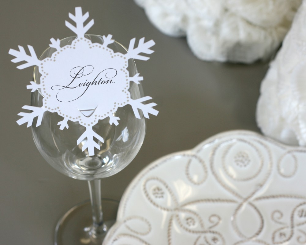 Snowflake Wedding Escort Card for Winter Weddings