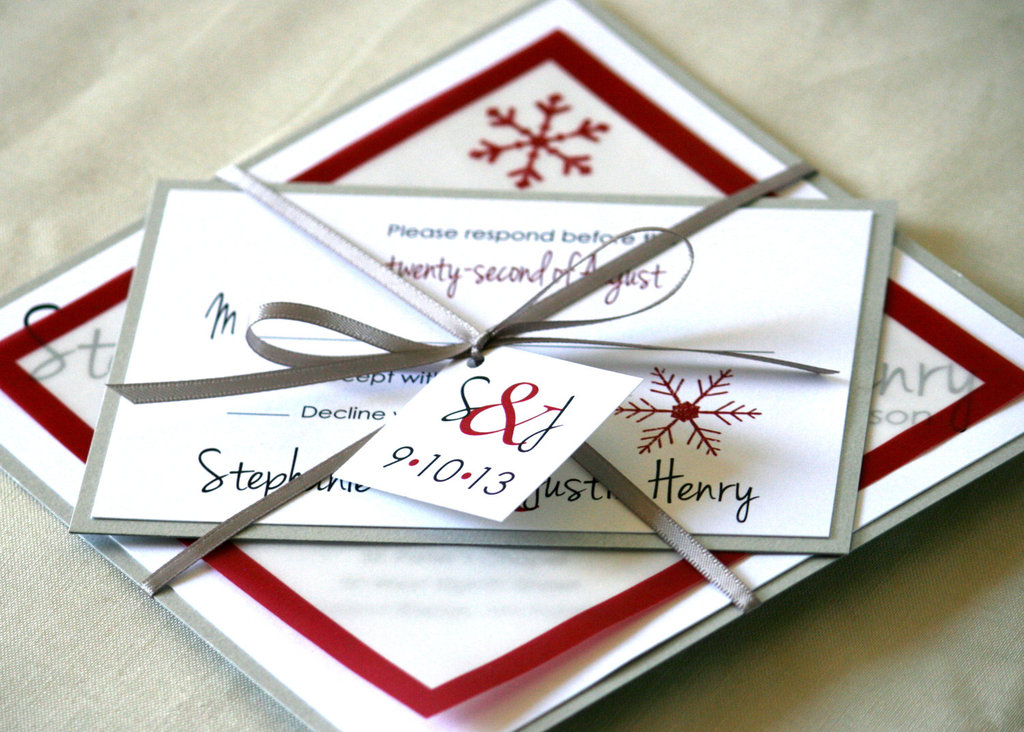 White And Red Wedding Invitations: Whimsical Winter Wedding Red White Silver Invitations