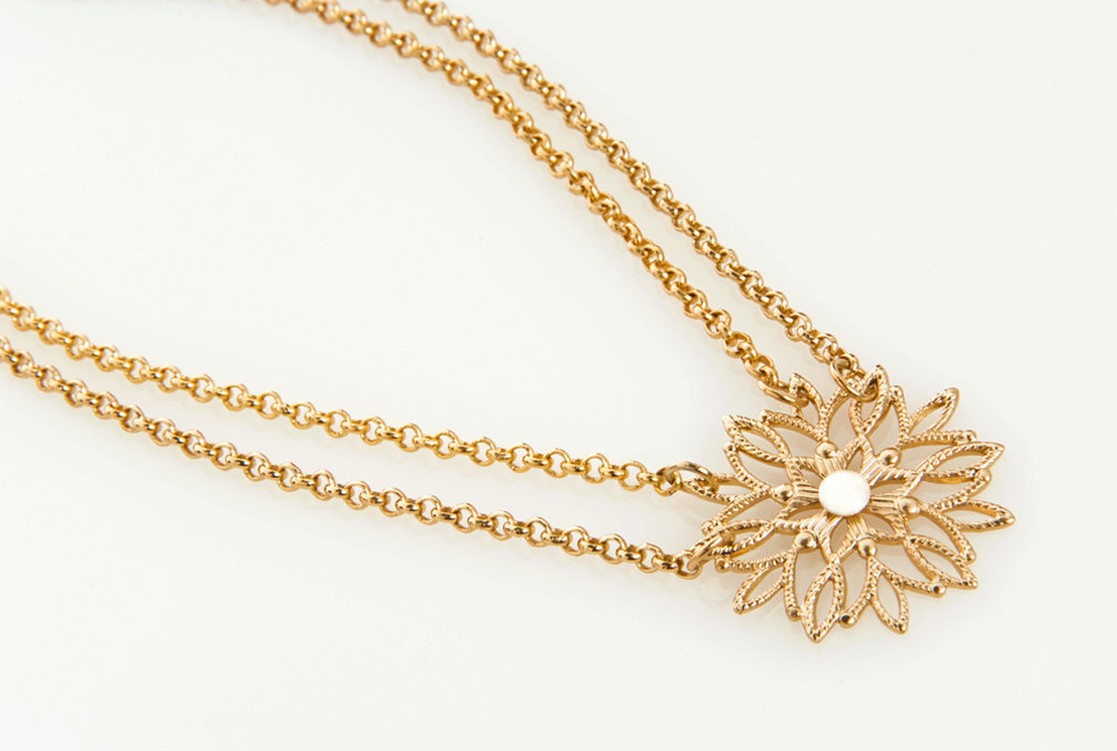 Snowflake Inspired Gold Bridal Necklace