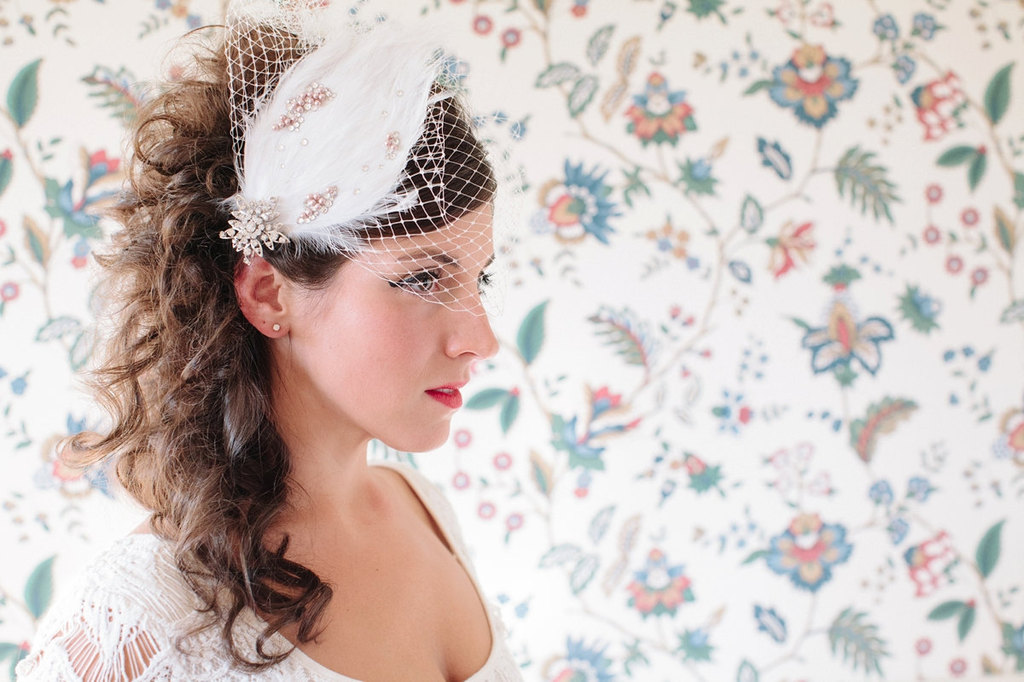 Feather Bridal Fascinator with Snowflake Brooch