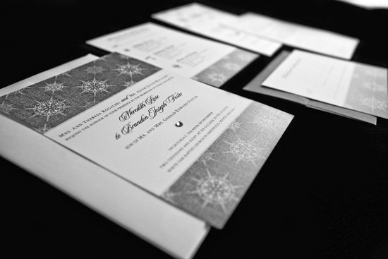Modern White and Silver Wedding Invitations Snowflake Design