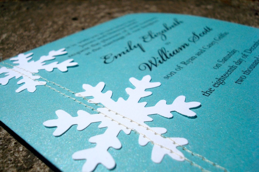 Teal Stiched Wedding Invitations Winter Snowflake Design