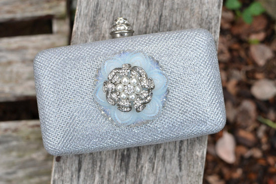 Silver Snowflake Inspired Bridal Clutch