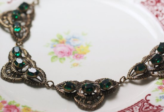 Statement Wedding Necklace Emerald Green Vintage