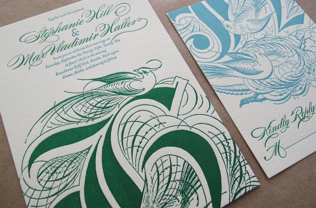 Elegant Letterpress Wedding Invitations Emerald Green Aqua