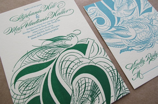 Elegant Letterpress Wedding Invitations Emerald Green Aqua