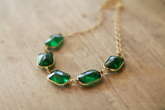 Emerald and Gold Wedding Necklace