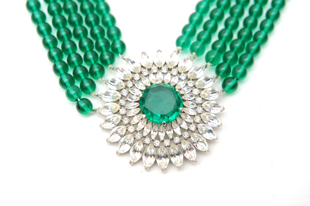 Vintage Emerald Green Wedding Necklace