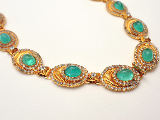 Statement Wedding Necklace Emerald Green and Gold
