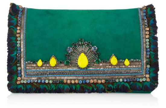 Bohemian Bride Emerald Green Wedding Clutch