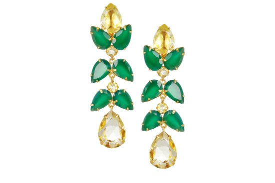 Elegant Emerald Drop Bridal Earrings