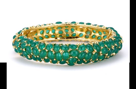 Emerald and Gold Wedding Cuff Bracelet