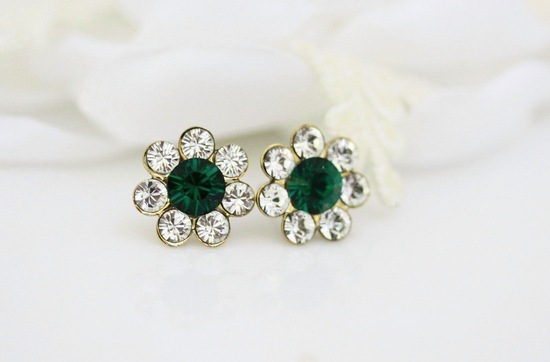 Vintage Bridal Earrings Emerald Diamond