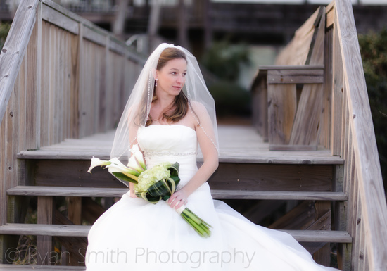 Bride sitting on steps with a bit of soft glow_6798223324_o