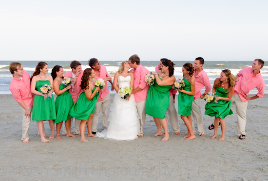Bridal party watching bride and groom kiss - Kingston Plantation_5905580495_o