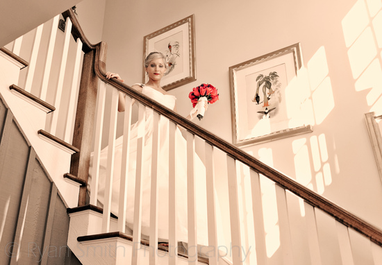 Bride walking down the steps in windowlight - Holiday Cottage_5468651200_o