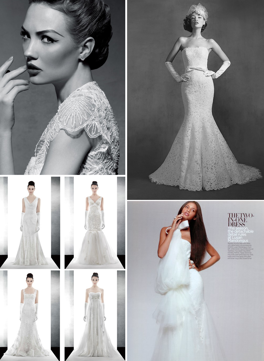 Elegant bridal gowns vintage inspired lace for Vintage inspired wedding dresses lace