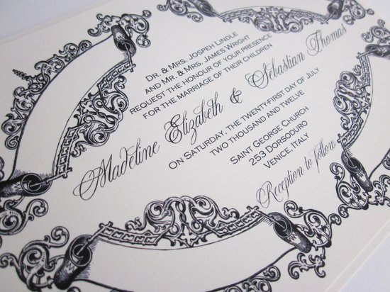 Vintage Wedding Themes Baroque Invitations Navy and White