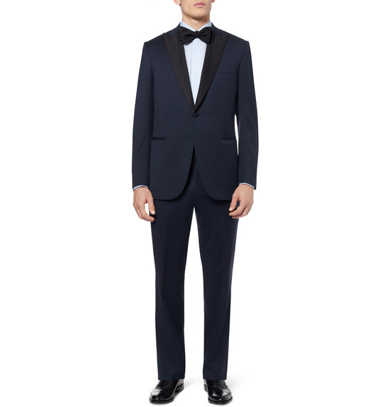 Deep Blue Tuxedo for the Groom with Black Accents